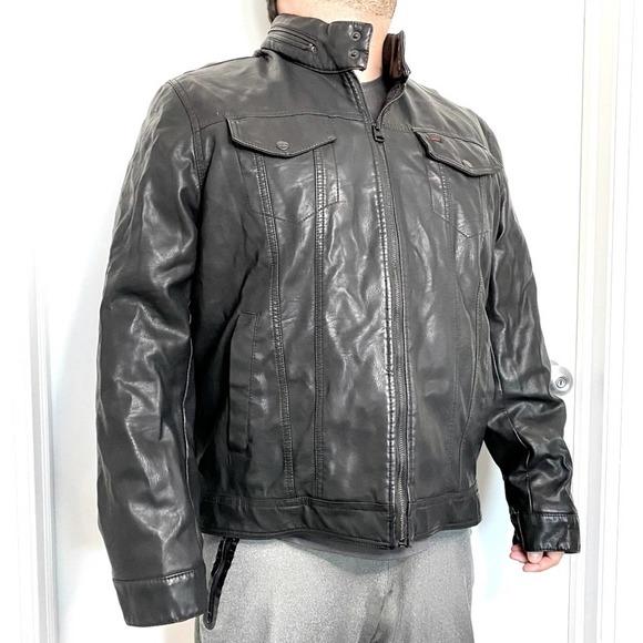 Levi's Faux Leather Racer Biker Trucker Jacket